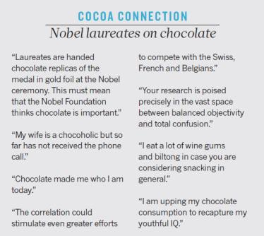Nobel Laureates on chocolate